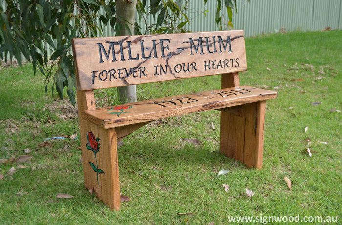 millie mum wooden bench