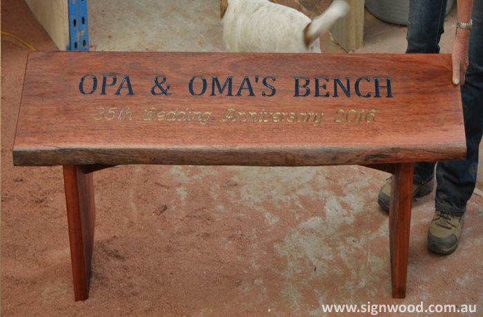 opa oma wooden bench