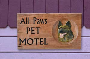 pet motel wood sign