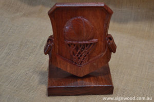wooden golf trophy