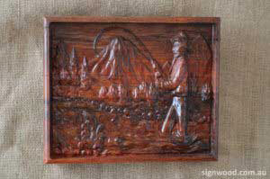 fisher man wood carving