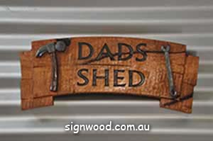 dads shed with hammer wood sign