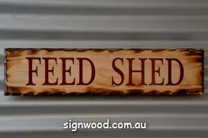 feed shed wood sign