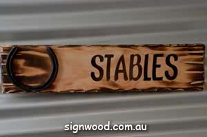 stables wood sign